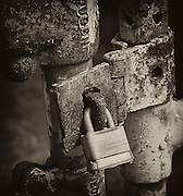 Sepia Lock and Gate. Black and White Photo Art