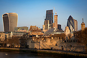 London skyline showing the Tower of London, the 'Walkie Talkie' on 20 Fenchurch Street, The Leadenhall Building, and the 'Gherkin' on 30 St Mary Axe in London, United Kingdom.  (photo by Andrew Aitchison / In pictures via Getty Images)