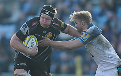 Thomas Waldrom of Exeter Chiefs goes on the charge.  - Mandatory byline: Alex Davidson/JMP - 12/03/2016 - RUGBY - Sandy Park -Exeter Chiefs,England - Exeter Chiefs v Newcastle Falcons - Aviva Premiership