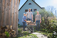 Family, Boys, Firewood, Teamwork, Wheelbarrow, Garden,