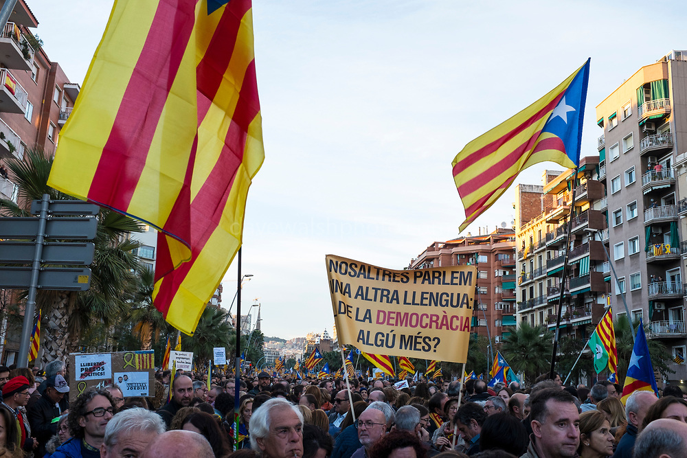 Nosaltres parlem una altra llengua de la democracia. Algú més? We speak another language of democracy. Anyone else?<br /> <br /> More than 750,000 people crowd onto Carrer de La Marina, Barcelona, to protest the jailing of Catalan government ministers and civil society leaders on Saturday November 11, 2017.
