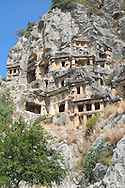 Ancient carved Lycian tombs set in a cliff<br /> Myra, Turkey<br /> c. Ellen Rooney