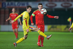 WREXHAM, WALES - Tuesday, November 17, 2015: Wales' captain Declan John in action against Romania during the UEFA Under-21 Championship Qualifying Group 5 match at the Racecourse Ground. (Pic by David Rawcliffe/Propaganda)