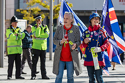 © Licensed to London News Pictures. 24/09/2018. Liverpool, UK. Anti-Brexit protesters hand out leaflets and stickers outside the Labour Party Conference 2018. Photo credit: Rob Pinney/LNP