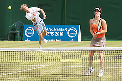 MANCHESTER, ENGLAND: Seb Jackson (GBR) and Martina Hingis (SUI) on Day 3 of the Manchester Masters Tennis Tournament at the Northern Tennis Club. (Pic by David Tickle/Propaganda)