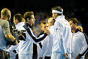 Andy Murray of Great Britain and Juan Martin del Potro of Argentina shake hands ahead of the Davis Cup Semi Final between Great Britain and Argentina at the Emirates Arena, Glasgow, United Kingdom on 16 September 2016. Photo by Craig Doyle.