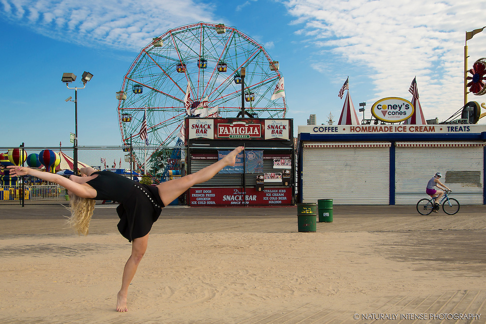 Coney Island Boardwalk. Dance As Art- The New York Photography Project featuring dancer Frida Persson.