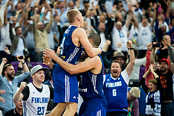 Sasu Salin of Finland and Gerald Lee of Finland celebrate after winning during basketball match between National Teams of France and Finland at Day 1 of the FIBA EuroBasket 2017 at Hartwall Arena in Helsinki, Finland on August 31, 2017. Photo by Vid Ponikvar / Sportida