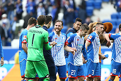16.04.2016, Wirsol Rhein Neckar Arena, Sinsheim, GER, 1. FBL, TSG 1899 Hoffenheim vs Hertha BSC, 30. Runde, im Bild die Spieler freuen sich ueber den Sieg // during the German Bundesliga 30th round match between TSG 1899 Hoffenheim and Hertha BSC at the Wirsol Rhein Neckar Arena in Sinsheim, Germany on 2016/04/16. EXPA Pictures © 2016, PhotoCredit: EXPA/ Eibner-Pressefoto/ Neis<br /> <br /> *****ATTENTION - OUT of GER*****