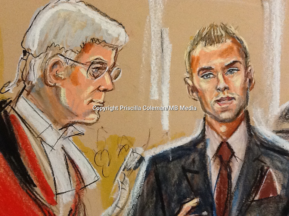 Justice Saunders listens to Calum Best giving evidence in the News International phone hacking trial. The allegation is that NOTW journalists listened in to conversations on Mr Best and Ms Hogan's mobile