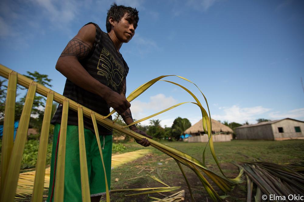 Making a bed from palm leaves at Sawre Muybu, a Munduruku indigenous village on the Tapajos River, Para, Brazil.