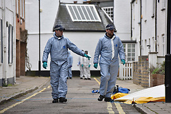 © Licensed to London News Pictures. 08/03/2019. Fulham, London, UK. Forensic officers sweep Lanfrey Place where 17yr old Ayub Hassan died of stab wounds sustained in an attack yesterday afternoon. Four teenagers have been arrested in connection with the murder, the investigation continues. Photo credit: Guilhem Baker/LNP