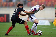 SYDNEY, NSW - FEBRUARY 24: Perth Glory forward Andy Keogh (9) and Western Sydney Wanderers defender Tate Russell (33) fight for the ball at round 20 of the Hyundai A-League Soccer between Western Sydney Wanderers FC and Perth Glory on February 24, 2019 at Spotless Stadium, NSW. (Photo by Speed Media/Icon Sportswire)