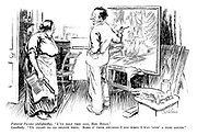 "Futurist painter (delightedly). ""I've sold this one, Mrs Biggs."" Landlady. ""Us ought to go shares then. Some o' them smudges I did when I was 'avin' a dust round."""