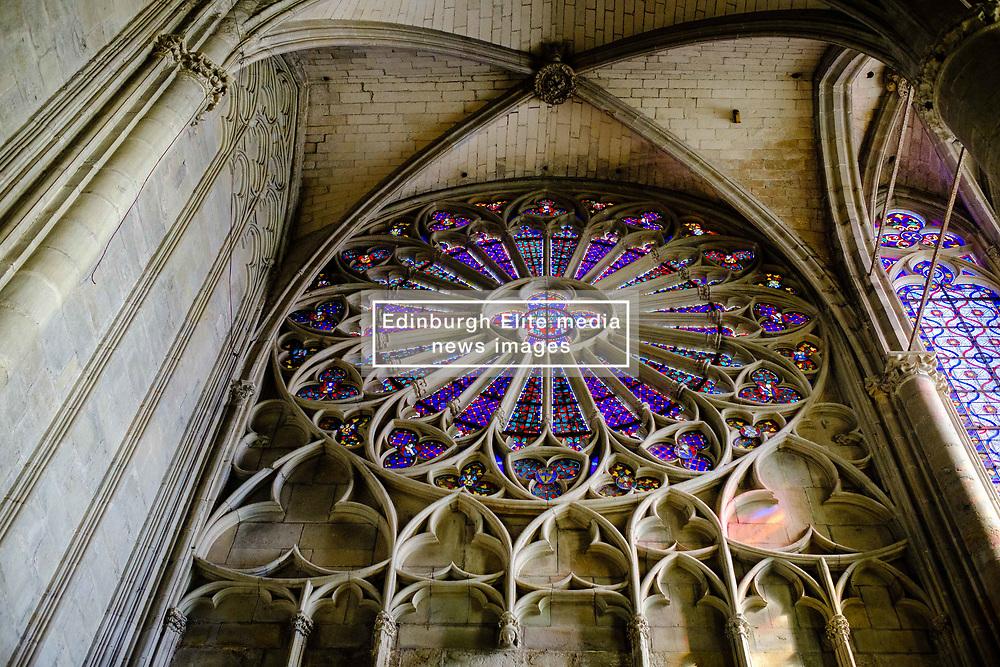 Stained glass windows in the interior of the  Basilique Saint Nazaire in the medieval Cité de Carcassonne, France<br /> <br /> (c) Andrew Wilson | Edinburgh Elite media