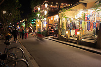 At night the streets of the old town of Hoi An, Vietnam come to life