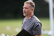 Forest Green Rovers assistant manager, Scott Lindsey during the Forest Green Rovers pre-season training camp at Woodbury Park, Woodbury, United Kingdom on 9 July 2018. Picture by Shane Healey.