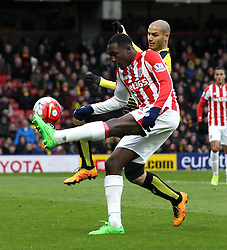 Giannelli Imbula of Stoke City is shut down by Nordin Amrabat of Watford - Mandatory byline: Robbie Stephenson/JMP - 19/03/2016 - FOOTBALL - Vicarage Road - Watford, England - Crystal Palace v Leicester City - Barclays Premier League