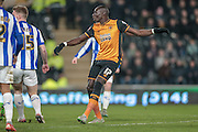 Mohamed Diamé (Hull City) watches as his shot is saved by Keiren Westwood (Sheffield Wednesday) during the Sky Bet Championship match between Hull City and Sheffield Wednesday at the KC Stadium, Kingston upon Hull, England on 26 February 2016. Photo by Mark P Doherty.