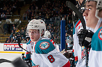 KELOWNA, CANADA - FEBRUARY 1: Jack Cowell #8 of the Kelowna Rockets stands on the bench against the Calgary Hitmen on February 1, 2017 at Prospera Place in Kelowna, British Columbia, Canada.  (Photo by Marissa Baecker/Shoot the Breeze)  *** Local Caption ***