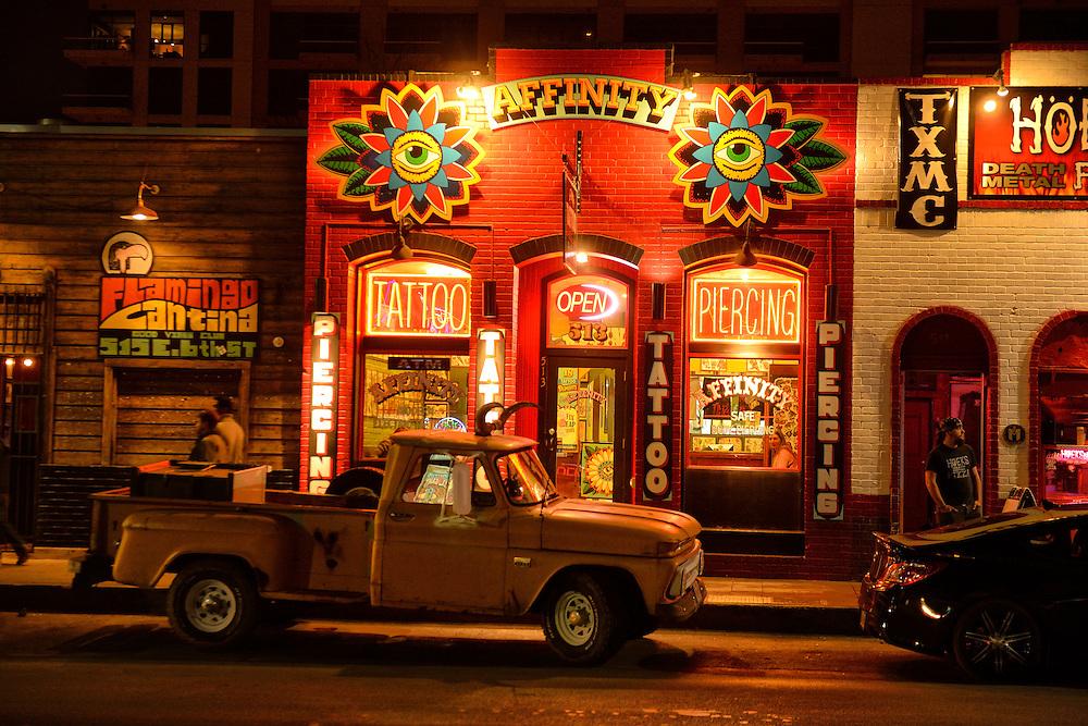 6th Street at night,City of Austin,Texas,USA