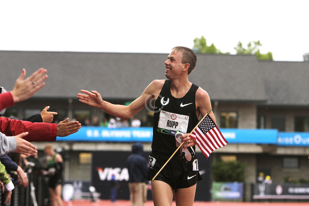 Olympic Trials Eugene 2012: mens' 10,000 meter final, Galen Rupp victory lap after winning