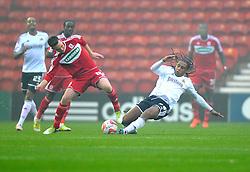Bristol City's Neil Danns tackles Middlesbrough's Josh McEachran - Photo mandatory by-line: Joe Meredith/JMP  - Tel: Mobile:07966 386802 24/11/2012 - Middlesbrough v Bristol City - SPORT - FOOTBALL - Championship -  Middlesbrough  - River Side Stadium