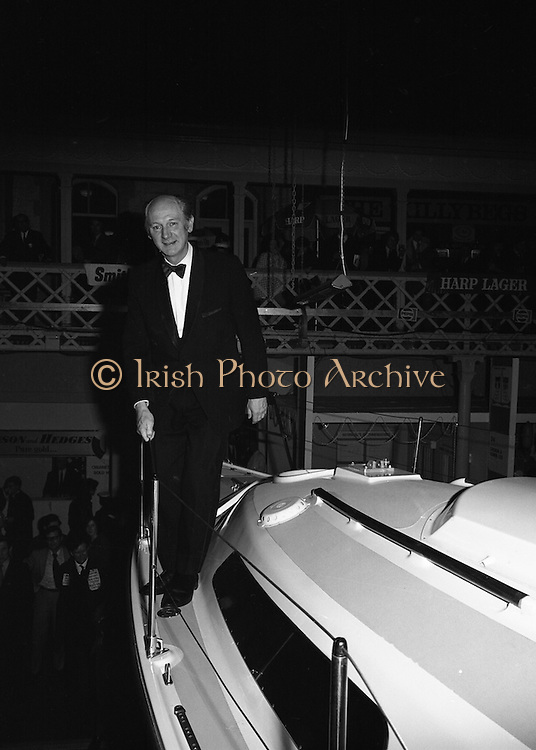 Mr Jack Lynch Opens the Boat show..1973..27.02.1973..02.27.1973..27th February 1973..After a hectic general election campaign,An Taoiseach, Jack Lynch found time before the ballot counts to officially open the Irish Boat Show in the RDS (Royal Dublin Showgrounds)...Picture of An Taoiseach,Mr Jack Lynch, aboard one of the cruisers on sale at the Irish Boat Show in the RDS.