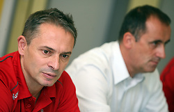 Coach Tone Tiselj and Manager of club Mijo Zorko at press conference of handball club RK Celje Pivovarna Lasko before new season 2008/2009, on September 2, 2008 in Celje, Slovenia. (Photo by Vid Ponikvar / Sportal Images)