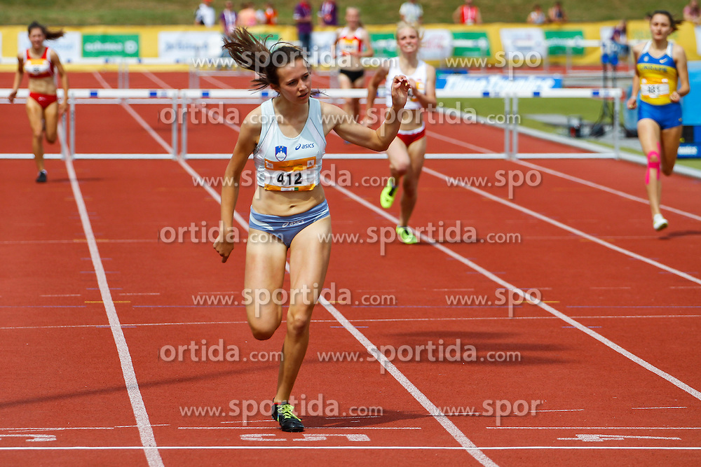 Aneja Simoncic competing in 400 m hurdles at 12th European Youth Olympic Summer Festival in Utrecht, Netherlands on July 17, 2013 in Utrecht, Netherland. (Photo by Peter Kastelic / Sportida.com)