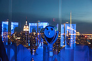 New York , Top of the Rock terrace , mirror images reflection , panoramic view of Manhattan at night and the empire state building, view from  in the he Rockfeller center,   New York, Manhattan - United states