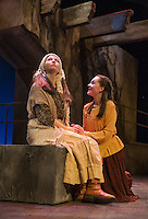 The Nurse (Claire Gardener) and Juliet (Emily Casko) during a dress rehearsal scene for Romeo and Juliet with the Winnipesaukee Playhouse on Wednesday evening.  (Karen Bobotas/for the Laconia Daily Sun)