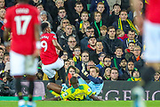 Goal \Manchester United forward Anthony Martial (9) scores a goal 0-3 during the Premier League match between Norwich City and Manchester United at Carrow Road, Norwich, England on 27 October 2019.