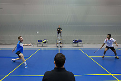 Andrew Smith of England vs Mohit Kamat of India during final match in man singles at Slovenia Open Badminton tournament 2012, on May 13, 2012, in Medvode, Slovenia. (Photo by Grega Valancic / Sportida.com)