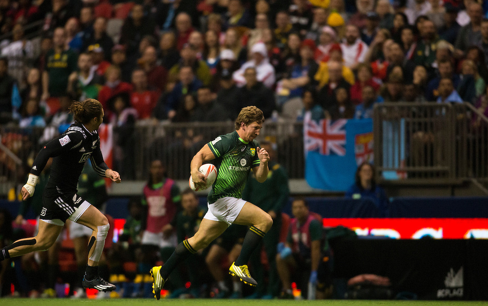 New Zealand plays South Africa in the Cup Final at the HSBC Sevens World Series XVII Round 6 at B.C. Place Stadium in Vancouver British Columbia on March 13, 2016. New Zealand beat South Africa 19-14.(KevinLight/CBCSports)