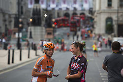 Anna Plichta (POL) of Boels-Dolmans Cycling Team and Mia Radotic (CRO) of BTC City Ljubljana Cycling Team chat before the Prudential RideLondon Classique - a 64.8 km road race, starting and finishing in central London on July 28, 2018, in London, United Kingdom. (Photo by Balint Hamvas/Velofocus.com)