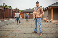 """Jorge, Jose and Jorge near completion on their house construction project at 1706 Myrtle Street in Calistoga.  """"So, what is your next project?""""  """"Ah...not sure.""""   jmarcial20@yahoo.com"""