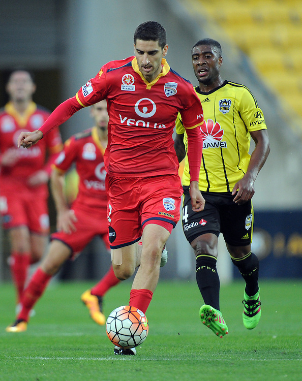 Adelaide United's Michael Marrone against the Phoenix in the A-League football match at Westpac Stadium, Wellington, New Zealand, Saturday, March 05, 2016. Credit:SNPA / Ross Setford