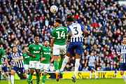 Brighton & Hove Albion defender Gaëtan Bong (3) heads towards goal during the The FA Cup match between Brighton and Hove Albion and Sheffield Wednesday at the American Express Community Stadium, Brighton and Hove, England on 4 January 2020.