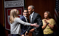 Former President Barack Obama talks to hundreds of young people on Monday, April 24, 2017 at the Logan Center for the Arts on the University of Chicago campus. Obama is seen here with, from left, Kelsey McClear, Loyola University; Ramuel Figueroa, Roosevet University; and Dr. Tiffany Brown, pharmacist, right. Photo by Zbigniew Bzdak/Chicago Tribune/TNS/ABACAPRESS.COM