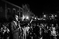MILAZZO, ITALY - 27 OCTOBER 2017: (R-L) Five Star Movement (Italian: Movimento 5 Stelle, or M5S) politician Luigi Di Maio, Vice President of the Chamber of Deputies in the Italian Parliament, gives a speech to support M5S candidate Giancarlo Cancelleri, running for governor of Sicily in the upcoming Sicilan regional election, during a rally here in Milazzo, Italy, on October 27th 2017.<br /> <br /> The Sicilian regional election for the renewal of the Sicilian Regional Assembly and the election of the President of Sicily will be held on 5th November 2017.