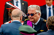 BRUSSELS - Belgian Prime Minister Charles Michel and Prince Laurent of Belgium pictured during the military parade on the Belgian National Day, in Brussels, Saturday 21 July 2018. ROBIN UTRECHT