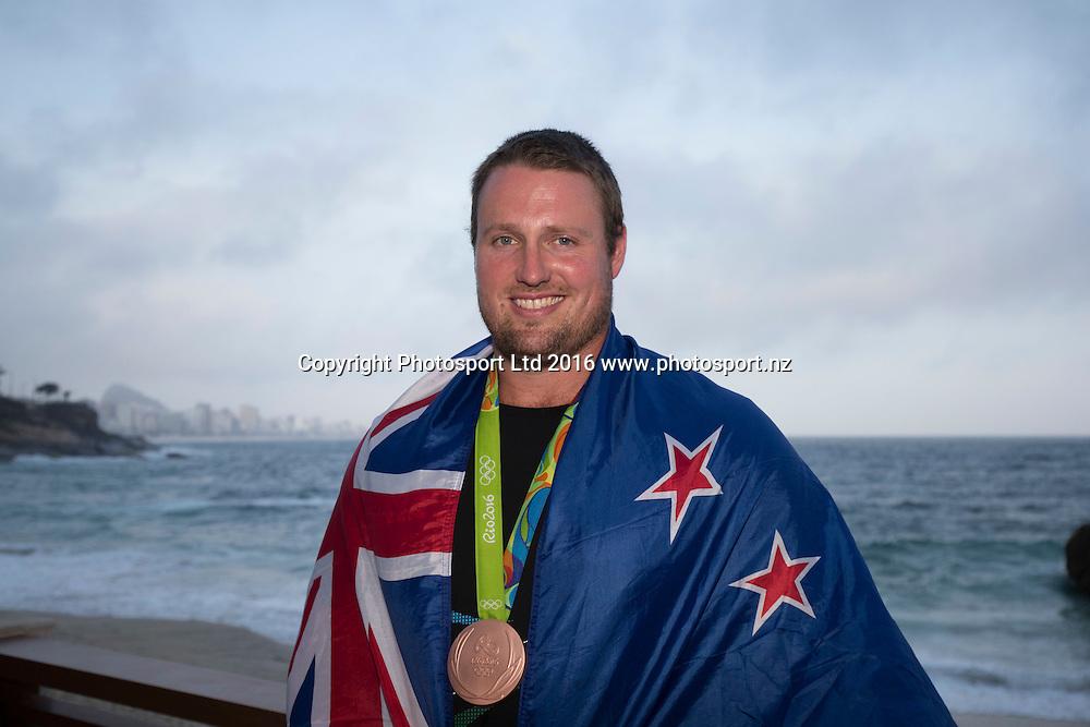New Zealand's Tomas Walsh, Bronze medal, mens shotput,  Rio Olympics Games 2016, Rio de Janeiro. 19 August, 2016. Copyright photo: John Cowpland / www.photosport.nz