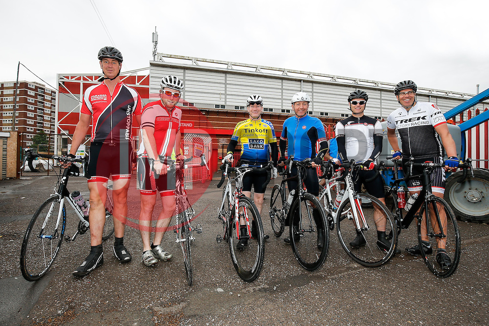 Cyclists take part in Break the Cycle, a 110 mile charity bike ride organised by the Bristol, Bath and Gloucester Rugby Community Foundations, visiting their respective stadia, Ashton Gate, The Recreation Ground and Kingsholm Stadium - Photo mandatory by-line: Rogan Thomson/JMP - 07966 386802 - 14/06/2015 - SPORT - Cycling - Bristol, England - Ashton Gate Stadium.