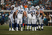 The Indianapolis Colts offense in action during the NFL week 13 regular season football game against the Jacksonville Jaguars on Sunday, Dec. 2, 2018 in Jacksonville, Fla. The Jaguars won the game in a 6-0 shutout. (©Paul Anthony Spinelli)