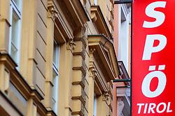 25.02.2018, Innsbruck, AUT, Landtagswahl in Tirol 2018, im Bild SPÖ Tirol Schriftzug an der Aussenfassade // during for the State election in Tyrol 2018. Innsbruck, Austria on 2018/02/25. EXPA Pictures © 2018, PhotoCredit: EXPA/ JFK
