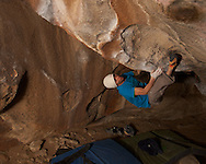 Sean McColl sending Rumble in the Jungle (V12) during the 2012 Hueco Rock Rodeo
