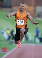 JOHANNESBURG, SOUTH AFRICA - MARCH 22: Roger Haitengi of UJ in the mens triple jump during the ASA Speed Series 4 at Germiston Stadium on March 22, 2017 in Johannesburg, South Africa. (Photo by Roger Sedres/ImageSA)