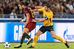(L-R) Kevin Strootman of AS Roma, Gabi of Club Atletico de Madrid during the UEFA Champions League group C match match between AS Roma and Atletico Madrid on September 12, 2017 at the Stadio Olimpico in Rome, Italy.