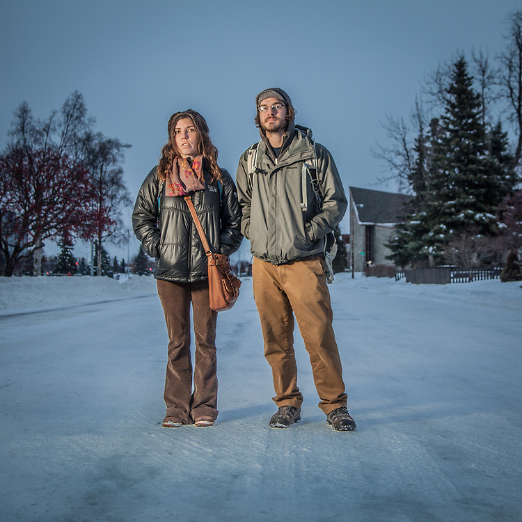 Jonathan Neville and Vikky Mooney on 9th Avenue in Anchorage's South Addition Neighborhood  wiscowanderer@gmail.com